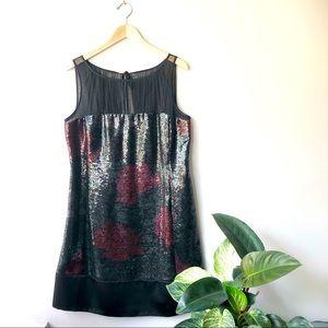 Kay Unger New York Black Sequin Rose Design Sleeveless Evening Illusion Dress.